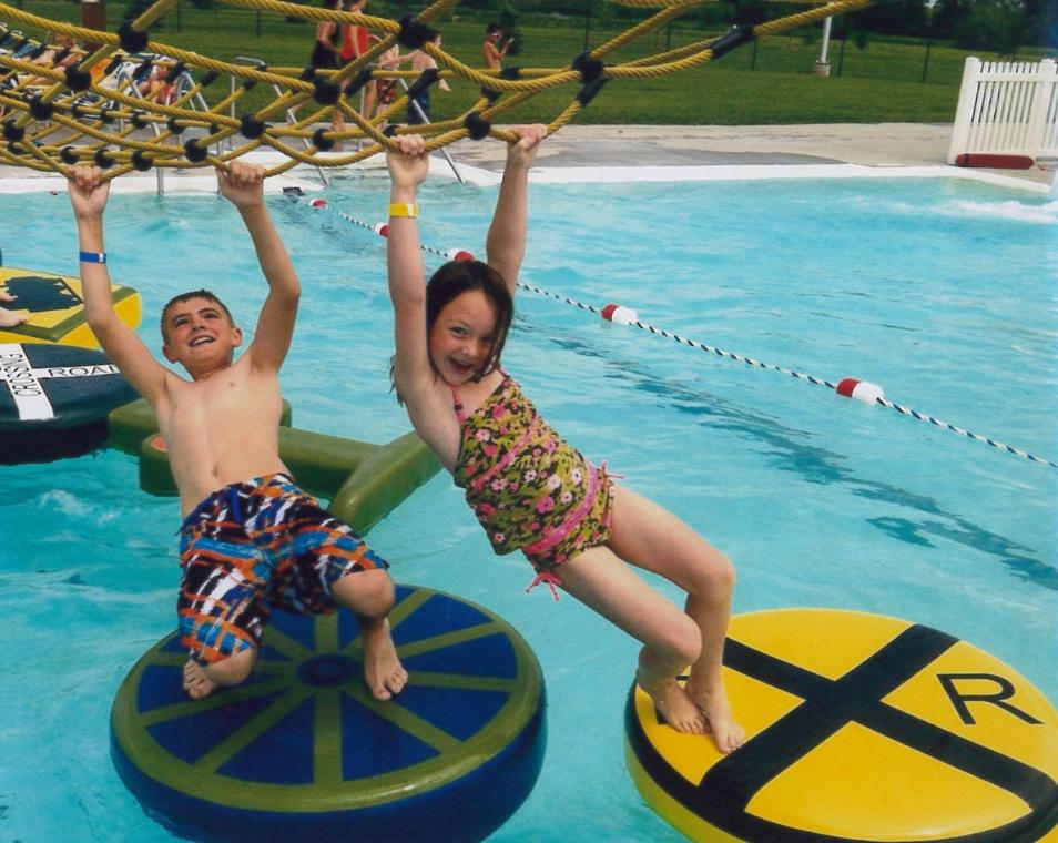 kids having fun at city pool